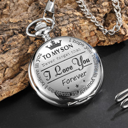 pocket watches for 2019 - Quartz Pocket Chain Watch To My Son THE GREATEST DAD Necklace Watches For Men Mens Fathers Day Gift Present reloj de bol