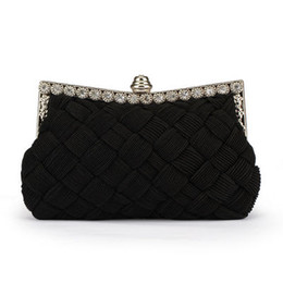 Candy Knit Fabric Canada - New Arrival Evening Bag Women Ladies Knitted Evening Clutch Bags Knitting Wedding Party Bag Handbag Weaving Leather Clutch Bag