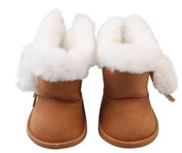 velvet doll UK - Plush doll toy plus velvet ball tassel warm shoes fashion girls boots girl snow boots winter thick fashion boots