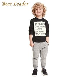 baby boy bear suits UK - Bear Leader Baby boy clothes 2018 New Winter and Autumn Dark Grey long sleeve t-shirt + casual long pants 2pc suit kids clothes