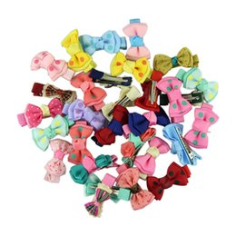 $enCountryForm.capitalKeyWord UK - 5 pairs pack Fashion Girls Kids Candy Color Dot Flower Print Ribbon Bow Hairpin Hair Clips Kids Hair Accessories