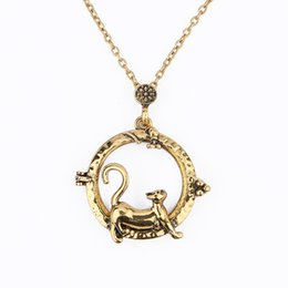 $enCountryForm.capitalKeyWord NZ - Vintage Magnifying Glass Pendant Necklace Lovely Cat Pocket Watch Time Collar Collier Statement Necklace Women Jewelry
