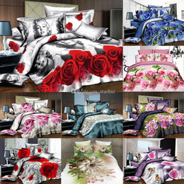 Discount christmas bedding luxury - 3D Printed Bedding Sets 4pcs set Luxury Rose Pattern Duvet Cover Pillowcases Home Bedding Supplies Christmas Decorative