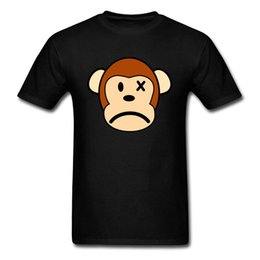 blue monkey cartoons Australia - 2018 Sad Monkey Face Print Men T Shirt Black T-shirts Wholesale Short Sleeve 100% Cotton Cartoon Design Tops