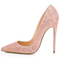 PurPle glitter stilettos online shopping - Glitter Bling Bling Fashion Lady Shoes Sexy Pointed Toe Thin High Heel Shallow Classic Women Pumps Two Color Pink and Purple