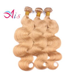 Blonde human hair pieces online shopping - Honey Blonde Brazilian Hair Bundles Body Wave or Straight Weave Color Blonde Human Hair Bundles Virgin Hair