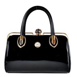 Wholesale- Fashion Skull Diamonds patent leather Women Bag Crystal Ladies  Evening Bag Bride Tote Bag Women Wedding Handbag Brand Designer 6aa8af5337863