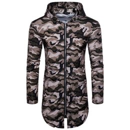 Urban camo clothing online shopping - 2018 Mens Hip Hop Long Sleeve Front Zip Camouflage Longline Hoodies High Street Camo Hooded Sweatshirts Fashion Urban Clothing