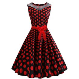 3e4164f52c8d4 Women s Clothing 2019 Summer fashion plus size Red Casual Dresses for  womens Polka Dot Print Sleeveless vintage dress expansion skirt