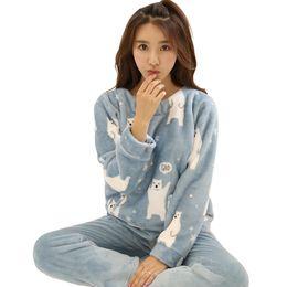 8c58860281 Autumn Winter Warm Cute Flannel Sleep Home Clothing Women Pajamas Sets Long  Sleeve Cartoon Sleepwear Suits Female Pyjamas Pajama D18110502