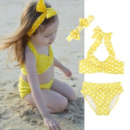headband Toddler Kids Baby Girl Ruffles Top+shorts Swimwear Swimming Summer Beach Clothes Set Reliable Performance Yellow Dots 3pcs Swimsuit Mother & Kids Clothing Sets