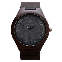 China Casual Black Sandalwood Quartz Wristwatch Men Wooden Watch Leather Strap Wood Wrist Watch Japan Miyota Movement cheap japan miyota watch suppliers