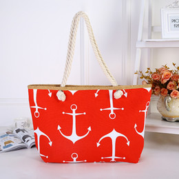 $enCountryForm.capitalKeyWord Australia - New Women's Beach Shoulder Bag Handbag Anchor Canvas Korean Fashion Print Casual Cotton Rope Tote Female Single Shopping Bags