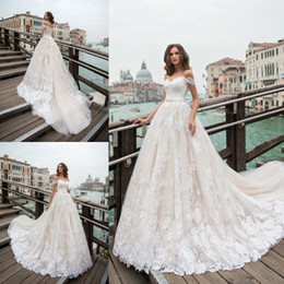 ivory dresses ribbon 2019 - 2018 Pentelei Lace Ball Gown Wedding Dresses Off The Shoulder Appliqued Sweep Train Bridal Gowns Plus Size Garden Weddin