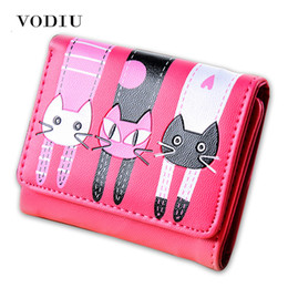 small pocket coin holder UK - 2017 Korean Cute Designer Cat Women Slim Mini Wallet Girl Small Purse Female Thin Clutch Credit Card Holder Dollar Price Cuzdan