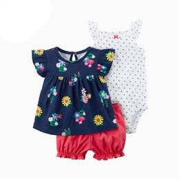 bb4772dab6d Baby Girl Clothes Set 3pcs Vest Pant Rompers Newborn Summer Clothes Flower  Printing Sleeveless Cowboy Jumpsuit Infant Clothing Y18102207