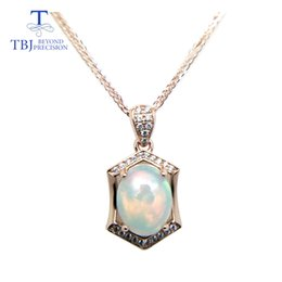 Opal Pendants 925 NZ - TBJ ,Natural ethopian opal oval cut 8*10 pendants with chain in 925 sterling silver gemstone necklace with gift box Y18102910