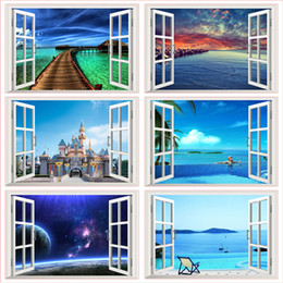 $enCountryForm.capitalKeyWord Australia - Fantastic 3d Window Space Landscape Castle Sea Wall Stickers Home Decoration Living Room Bedroom Festival Gifts Decals Mural Art
