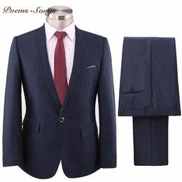 Dark Blue Suits Australia - Poems Songs 2018 Dark Blue Men's Suits Business Suit Classic Male Suits Wedding For Men homme trajes de hombre