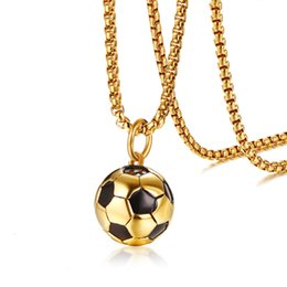 Chinese  2018 Latest Trendy Football Pendant Necklace Ball Drop Necklace Jewelry Men Gold Filled Length 60.5cm manufacturers