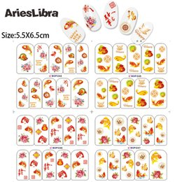 $enCountryForm.capitalKeyWord NZ - Hot Sale Nail Stickers BOP 244-247 Chinese Spring Festival 4 Sheets in One Water Transfer Decal DIY Art Nail Tips Decoration