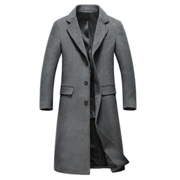 $enCountryForm.capitalKeyWord UK - Wholesale- Mens Fashion Woolen Overcoat Mens Turn-down Collar X-long Single Breasted Wool Overcoat Hight Quality Mens Casual Coat
