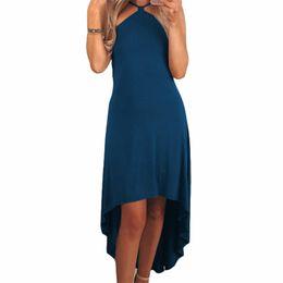ee9a3e8f46b Summer Sundress Women Solid Casual Dress 2019 New Sexy Sleeveless Irregular  Knee-Length Party Dresses New Boho Dress Girls GV450