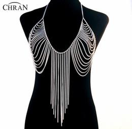 Bra Pendants UK - Wholesale-19 Designs Luxury Fashion Stunning Sexy Body Belly, Silver Gold Tone Body Chain Bra Slave Harness Necklace Tassel Waist Jewelry