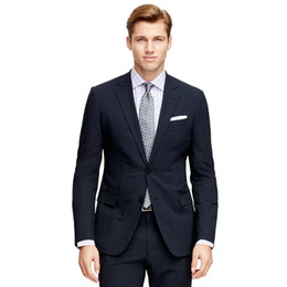 bridegroom custom jacket UK - 2018 Navy Blue Men Suits Skinny Wedding Suits For Man Custom Made Bridegroom Business Slim Fit Simple Formal Tuxedo Blazer Prom Jacket+Pants