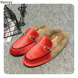 Ring Slides Australia - Women's Slippers Fur warm casual shoes 2018 autumn winner fashion slides cute metal ring decor flats slip-on female single shoes