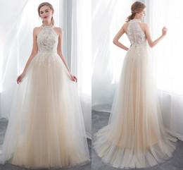 $enCountryForm.capitalKeyWord Australia - New Designer Champagne Halter Neck A Line Tulle Wedding Dresses Lace Appliqued Sleeveless Summer Beach Wedding Bridal Gowns CPS1011