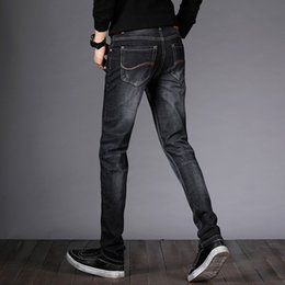 New Trend Casual Jeans Canada - Icpans 2018 Black Jeans Men Classic Brand New Four seasons men's straight Slim fashion business casual trend scratched jeans
