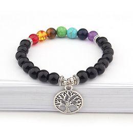 Опт 2019 новый дизайн унисекс семь цветов чакра энергии браслеты натуральный черный лава камень браслеты 8 мм красочные бусины браслеты с дерево Шарм
