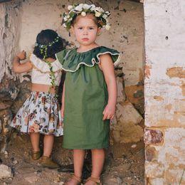 $enCountryForm.capitalKeyWord Canada - European Style Summer Newborn Baby Girl Princess Lotus Leaf Collar Sleeveless Dress Kids Green Soft Cotton Dress