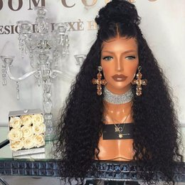 full hairline lace frontal Canada - Lace Frontal Wigs Pre Plucked Lace Front Wig With Baby Hair Brazilian Deep Curly Full Lace Human Hair Wigs Pre plucked Hairline
