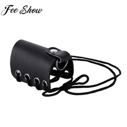 Wholesale Feeshow Hombre Men Male Adjustable Genuine Leather Chastity Belt Lace up C Strap Mention Ring Bracelet Underwear Harness