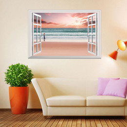 Wholesale Window 3D Pink Beach Girl Wall Stickers Living Room Bedroom Home  Decor Wallpaper Free Shipping