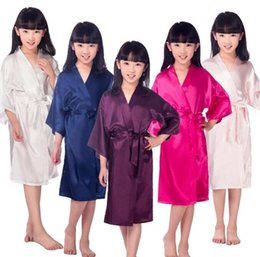 0776be0cb6 8Colors 2-10years Kids Satin Rayon Solid Kimono Robe Bathrobe Children Nightgown  For Spa Party Wedding Birthday