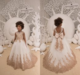 Corset dresses little girl online shopping - Lovely White Tulle Gold Lace Appliqued Little Girls Flower Girl Dresses Sheer Neck Corset Back With Ribbon Bow Girls Pageant Wear