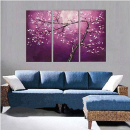 modern canvas art purple flower painting 2019 - Hand Painted Abstract Purple Flowers Oil Painting on Canvas Handmade Canvas Floral Paintings Modern Wall Art 3 Panel Pic