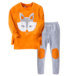 Fox Clothing Wholesale UK - Children Clothes 2018 New Autumn Winter Girls Clothing Sets Fox Pattern T-shirt + Legging 2pcs Outfits Sport Suit Kids Girls Clothes Set
