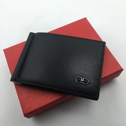 Discount simple wallet case leather - 100% Genuine Leather Slim Mens Credit Card Wallet Money Clip ID Card Case Simple Design Burnished Edges 2019 New Luxury