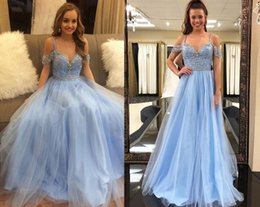 $enCountryForm.capitalKeyWord Australia - 2018 New Blue Prom Dress A Line Off Shoulder Beaded Tulle Elegant Plus Size Arabic Special Girls African Evening Gowns Cheap Party Long
