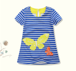 embroidered short white dress UK - New Summer Fashion Girl Embroidered Dress Cute Baby Stripe Short Sleeve Girls Dress Skirt Vestido Kids Clothing