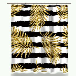 modern showers design Australia - New Design Miracille Modern Glitter Gold Leaves Pineapple Print Shower Curtains Polyester Waterproof Cat Flamingo Style Bathroom Curtain