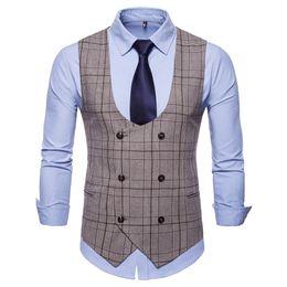 $enCountryForm.capitalKeyWord UK - New Arrival Men Sock Puppet Autumn Winter Double Breasted Three Colours Men Plaid Waistcoats High Quality V-Neck Sleeveless Wedding Vests