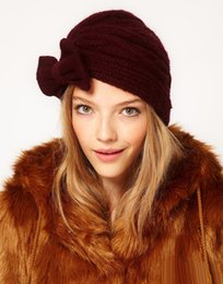 $enCountryForm.capitalKeyWord UK - 5 Color women warm earmuffs knit hat bow cap lady hat crochets knitting hats winter knitted beanie caps