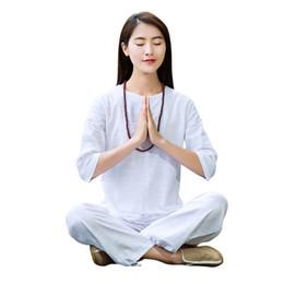 Meditation set online shopping - Women Yoga Suit Loose Trousers Tops Set Ladies Linen Outdoor Yoga Clothes Zen Meditation Tai Chi Clothing Kung Fu Set