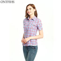 $enCountryForm.capitalKeyWord Canada - ONTFIHS Cotton Shirts Women tops and Blouse Plaid & Checks Shirt Brand kimono cardigan Slim blouses Women's tunic S-31