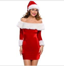 Wholesale santa costume female online – ideas Europe and the United States sexy red lovable Santa Claus artificial fur stitching fan dress stage outfit